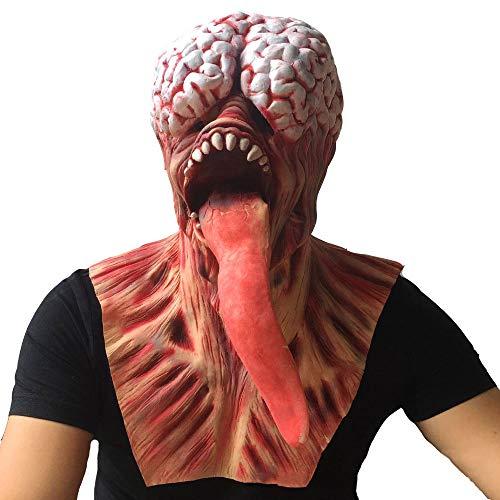 Halloween Bloody Lange Zunge Zombie Maske Gehirn Schaum Erwachsene Latex Kostüm Scary Kostüm Zubehör Für Erwachsene Kind