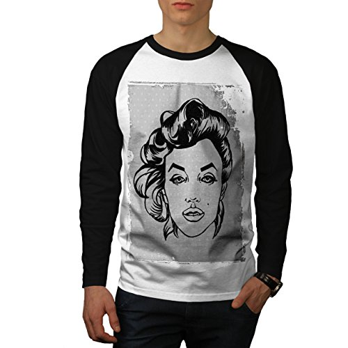 Marilyn Herren L Baseball lange Ärmel T-Shirt | Wellcoda (Baseball-kulissen)