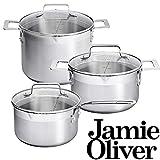 Jamie Oliver Set / Casseruola 20 e 24 cm / Saucepan 20 cm / Con Indicatori per Misurazione / Adatta a tutti i tipi di fornello / Realizzata in acciaio inox con Coperchio di Vetro Temperato con foro per il Vapore / Lavabile in lavastoviglie