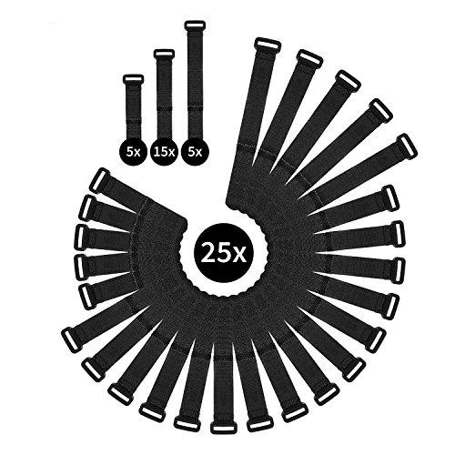 WINTEX Wiederverwendbare Klett-Kabelbinder - 25 Stück, 3 Verschiedene Längen, wiederverschließbar, mit Klett-Verschluss und Schnalle, universell einsetzbar, schwarz -