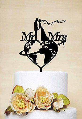 (Personalisierte Reisen Tortenaufsatz MR & MRS Kuchen Topper, Flugzeug Tortenaufsatz, Reisen Mottoparty Hochzeit Tortenaufsatz)