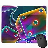 Gaming Mauspad 3d Cube Dice Neon Rubber Mousepad (30 x 25 cm)   Fransenfreie Ränder   Rutschfest