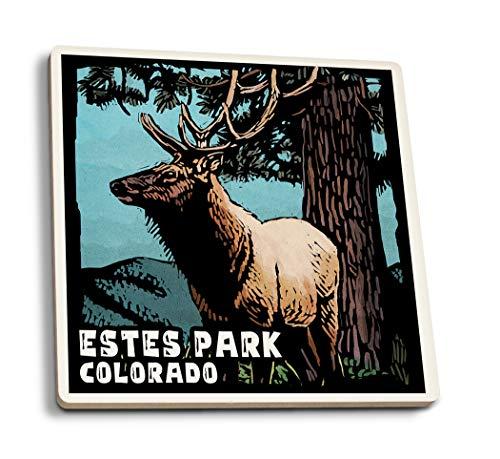 Estes Park, Colorado-Elk-scratchboard, keramik, mehrfarbig, 4 Coaster Set - Estes Park, Colorado