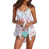 Bcfuda 2019 Donna Sexy Costume da Bagno Bikini 3Pcs Tankini Sets Bottom Plus Size Mesh Layered Swimwears Donne Due Pezzi Capestro Bendare Foglie di Fiori Stampa Costume Mare Spiaggia Estate