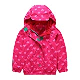 Mädchen Kapuzenjacke mit Fleecefütterung warm wasserdicht winddicht atmungsaktiv Kinder Regenjacke Übergangsjacke Rosa 98-104