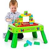 Spieltisch mit Bauplatte, 20 versch. Steine, Beine klappbar, ab 1 Jahr: Kinder Bautisch Lerntisch Spielzeug Steckbaustein