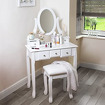 White Dressing Table With Stool And Oval Mirror, 5 Drawer Bedroom Vanity Desk Great Organiser Fort Accessories produced by home treats - quick delivery from UK.