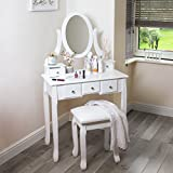 White Dressing Table With Stool And Oval Mirror, 5 Drawer Bedroom Vanity Desk Great Organiser Fort Accessories