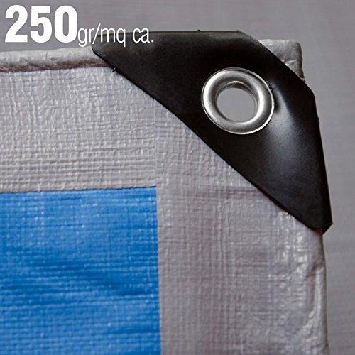 Verdelook telo occhiellato in polietilene ad elevata resistenza, 10x6 m, grammatura 250 g/m², grigio e blu, multiuso, per copertura e stoccaggio merce