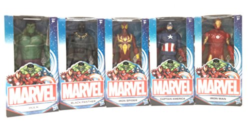 Marvel Action Figures Avengers 15cm set di 5 personaggi: Hulk, Iron Man, Captain America, iron Spider e Black Panther