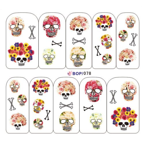 Punk Nail Art Tips Halloween Skull Decal Wrap Water Transfer Stickers DIY Decorations Fashion Gift Geschenk #003 (Halloween Strass Transfers)