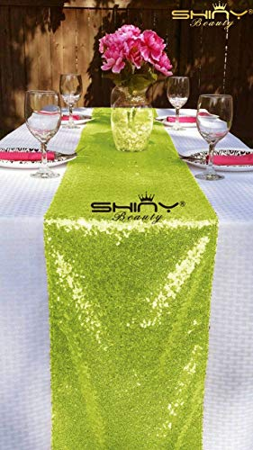 (ShinyBeauty Lime Grün Bridal Dusche Dekorationen 14x 274cm Lime grün Tischläufer Lime Grün Teller Party Supplies Tabelle beinhaltet für Party (Lime Grün))