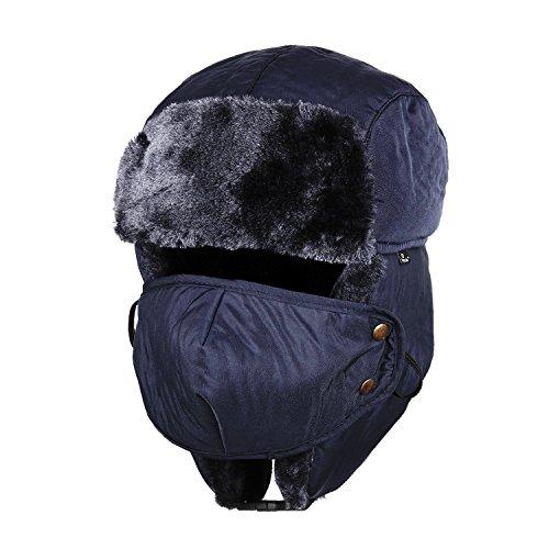 1e6dccaf8cb Tirain Unisex Winter Trooper Ushanka Hat Ear Flap Hat With Mask (Deep Blue)