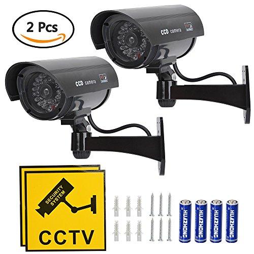 TIMESETL 2 Stück Attrappe Kamera CCTV Dummy Überwachungskamera mit Rot Blinkender LED Fake Sicherheitskamera - Schwarz