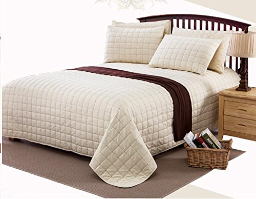 Unimall Tagesdecke Baumwolle 220 x 250 cm kariert gesteppt Bettüberwurf für Schlafzimmer, Beige