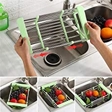 Kurtzy Water Drain Dish Rack Basket Stainless Steel Sink Board Kitchen Holder Tray for Fruits Vegetables Utensils Assorted Colors