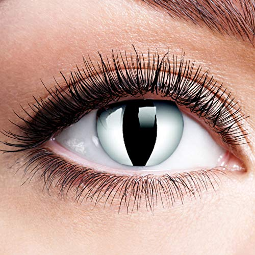 Farbige Kontaktlinsen mit Stärke Viper Schwarz Weiß Linsen Halloween Karneval Fasching Cosplay Anime Manga Schwarze Weiße Augen Cat Eye Katzen Reptil Schlange Katzenauge - 1,5 dpt