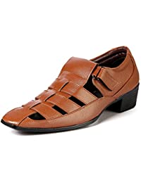 Bxxy's Men Tan Height Increasing Roman Outdoor Casual Sandals Pu Sole