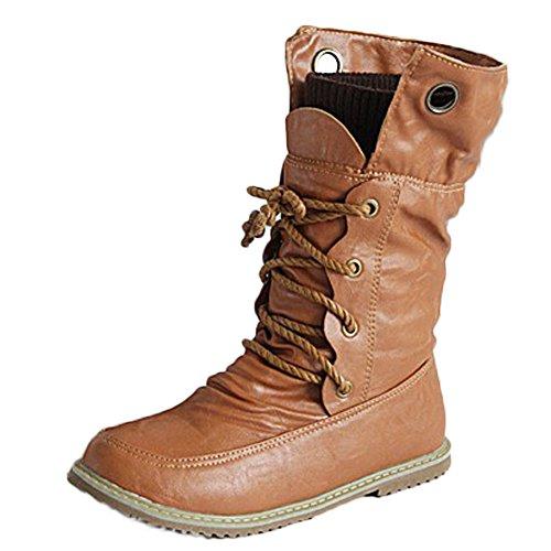 Minetom Femme Rétro Lacets Bottes Chelsea Courtes Punk Martin Boots Confortable Plates Chaussures Bout Rond Cheville Bottines De Moto