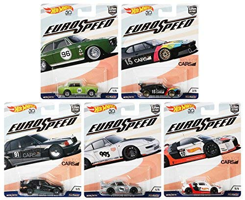 Hot Wheels Euro Speed Car Culture Set 5 Modellautos 1:64 FPY86