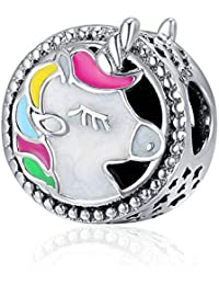Charms Bead Unicorn,joyería del encanto de Pandora de las mujeres chapado en plata de la cadena de la serpiente Unicornio Animal Vintage pulseras accesorios mejor regalo