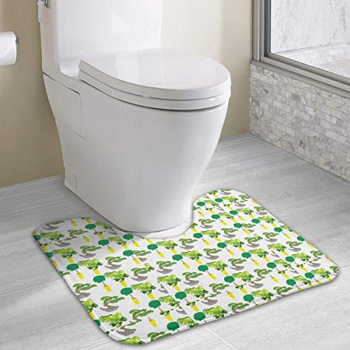 Hoklcvd Monstera und Bonsai Pattern U-förmige Toilette Boden Teppich Rutschfeste Toilette Teppiche Badezimmer Teppich (Dodger Gnome)