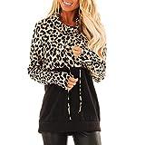 Lingyan Felpe Senza Cappuccio Felpe Collo Alto Casual Top Leopard Print Felpa con Maniche Lunghe da Donna Moda