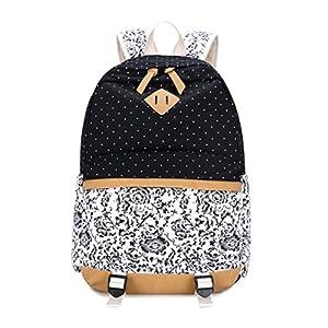 Umily Mochilas Escolares Mujer Backpack Mochila Escolar Lona Grande Unisexo Bolsa Casual Juvenil Chica-Flor azul