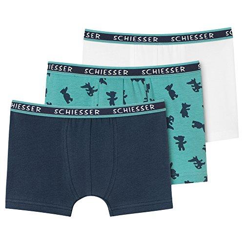 Schiesser Jungen 3pack Hip Shorts Boxershorts, Schwarz-Grün (Sortiert 1 901), 128 (erPack 3 - Schwarzer Bär Nachthemd