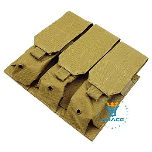 Multifunzione sopravvivenza Gear Pouch Tattico Molle Pouch Triple Magazine Pouch, Velcro e fibbie a sgancio rapido militare tattico borsa per attrezzi, OD KH