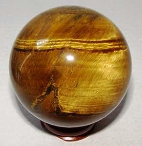 55mm Pierre Oeil de Tigre (Chattoyant) cristal Sphère sur support en bois