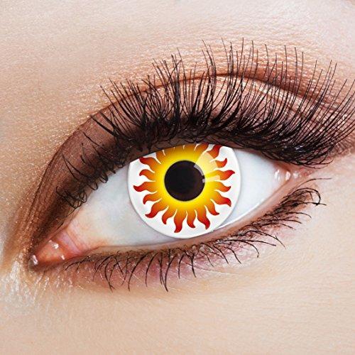 sen rot weiße Jahreslinsen farbig Cosplay Kostüm Accessoires (Orange Halloween Augen Make-up)