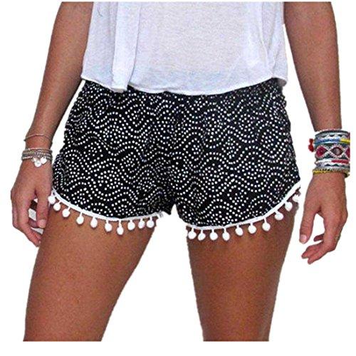Damen Hot Pants,Xinan Sommer Hohe Taillen Kurze Hosen (L, Schwarz)