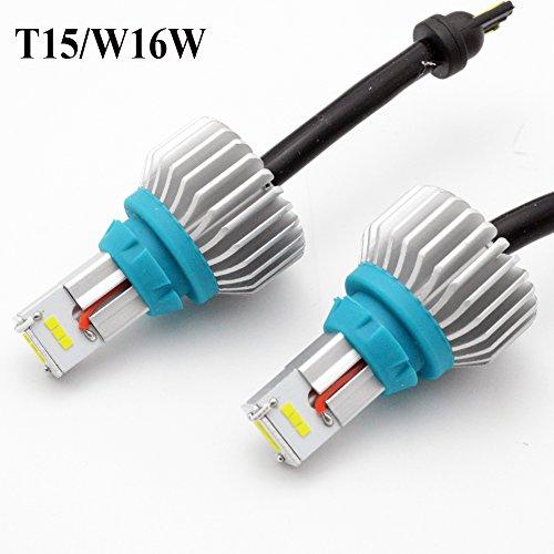 Ruiandsion 2x T15 LED ampoules AC 12-24V 6000K blanc super brillant CSP 9SMD Chipset 20W ampoule de rechange LED pour feux de recul, feux de recul, clignotants, feux de position, non-polarité
