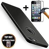 [Pack 2] Coque iPhone SE/5S/5 Silicone TPU Housse Mat Noir + Film Protection D'Ecran Verre Trempé