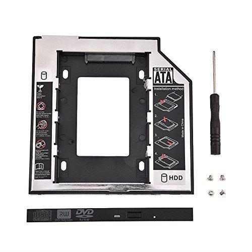 Richer-R HDD Laufwerkschacht, 13 Pin (6 + 7) 9,5 mm 2.5 Zoll SATA I II III HDD/SDD Interne Festplatte Halterung, 6Gbit/s CD-DVD Schacht Festplattenrahmen für Lenovo/Samsung/SONY/Asus/HP usw. -
