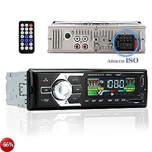 KYG Autoradio Bluetooth Attacco ISO Car Stereo Radio FM AM Chiamate Vivavoce Microfono Lettore MP3 WMA con Slot Per Chiavetta USB Scheda SD AUX DC 12V con Telecomando Nero