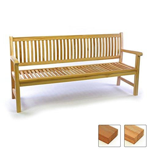 gartenbank teakholz 2 sitzer Divero 3-Sitzer Bank Holzbank Gartenbank Sitzbank 180 cm – zertifiziertes Teak-Holz unbehandelt hochwertig massiv – Reine Handarbeit – Wetterfest (Teak Natur)