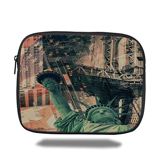 Tablet Bag for Ipad air 2/3/4/mini 9.7 inch,American,New York City Street Scenery Liberty Statue and USA Flag Freedom Torch Illustration,Red Grey,Bag