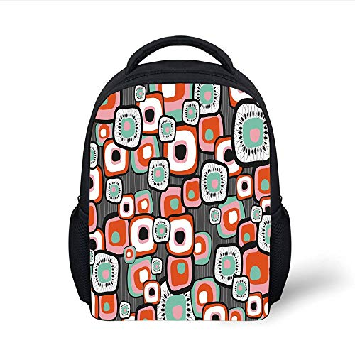 Kids School Backpack Country,Funky Square Shaped Lava Flowers with Abstract Inner Forms Print Decorative,Mint Baby Pink Orange Grey Plain Bookbag Travel Daypack Cup-form-mint