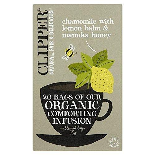 Clipper Camomilla Infuso Organico Con Melissa E Miele Di Manuka Bustine Di Tè 20 Per Confezione (Confezione da 6) - Caffeina Erbe Caffè
