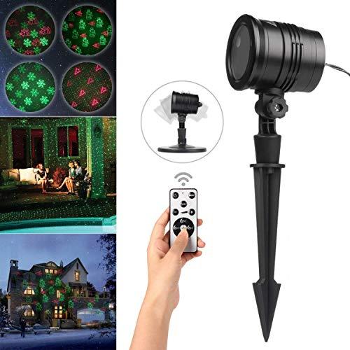 Led proiettore luci natale proiettore lampada, telecomando, ip65 impermeabile esterno/interno rotazione di proiettore luci per festività, decorazione della parete