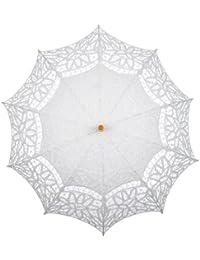 Topwedding parasol battenburg de mariage de dentelle, blanc