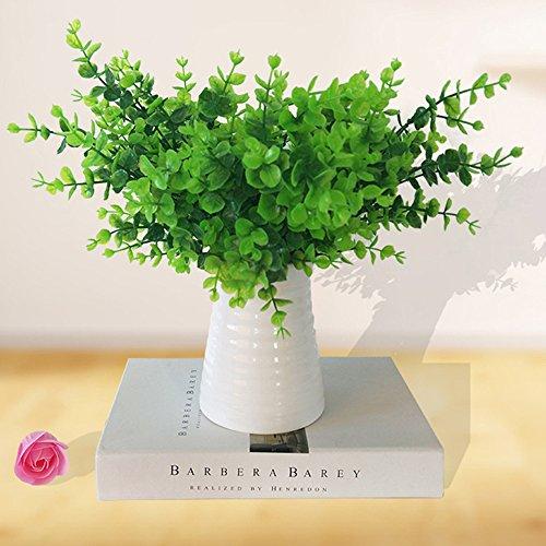 Ysber Kunstpflanzen, z.B. Eukalyptus aus Kunststoff, künstliche Sträucher als Dekoration für drinnen und draußen, Haus, Garten, Büro, Veranda, Hochzeiten usw., 5Stück / 10 Stück, grün, 5 PCS (Indoor-gras Fake)