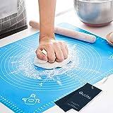 Oucles - Alfombrilla de silicona para hornear, reutilizable, antiadherente, para hacer masa y pastelería, con medidas para tartas, galletas u otros postres, 40 x 50 cm (1 pieza, azul)