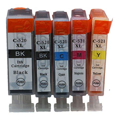 Preisvergleich Produktbild Generisch Kompatible Tintenpatronen Ersatz für Canon PGI 520XL 520 XL CLI 521XL 521 PGI-520 PGI-520XL CLI-521 CLI-521XL PGI-520XL CLI-521XL Tintenpatronen Hohe Kapazität kompatibel für Canon PIXMA IP3600 IP4600 IP4700 MX860 MX870 MP540 MP550 MP560 MP620 MP630 MP640 MP980 MP990 Tintenpatronen für Inkjet Drucker (1 Grossen Schwarz,1 Klein Schwarz,1 Cyan,1 Magenta,1 Gelb)