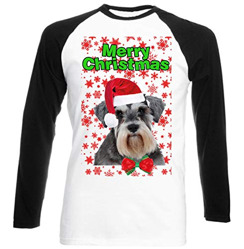 6247a032 TEESQUARE1st Men's Schnauzer Merry Christmas Snowflakes P Black Long  Sleeved T-Shirt Size XLarge