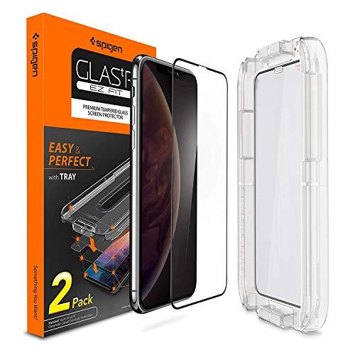 Spigen, 2Stück, Panzerglasfolie kompatibel mit iPhone XS/X, EZ FIT, mit Installationhilfe, 9H gehärtes Glas, Hüllenfreundlich, Volle Abdeckung, Face ID, Schutzfolie für iPhone XS/X (063GL25165)