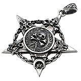 UM Schmuck Herren Pentagramm Halskette Edelstahl Pentacle-Stern mit Schadel Freimaurer Bose Auge Muster