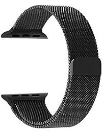 Robustrion Stainless Steel Mesh Milanese LoopStrap, Adjustable Magnetic Closure iWatch Band Nike+ Hermès 42 mm (Black)